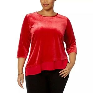 NY COLLECTION Bright RED asymmetrical Velour top